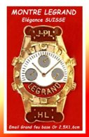 SUPER PIN'S MONTRE SUISSE : Marque M. LEGRAND, Horlogerie Traditionelle SUISSE, émail Grand Feu Base Or Effet 3D 2,5X1,6 - Marques