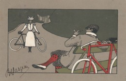 CPA Sport Femme Et Homme Cycliste Vélo Bicyclette Cycling Radsport Tabac Pipe Illustrateur (2 Scans) - Cyclisme