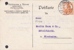 Germany Deutsches Reich L. HERRMANN & SÖHNE Möbelfabrik POTSCHAPPEL 1917 Card Karte WIESBADEN (2 Scans) - Deutschland
