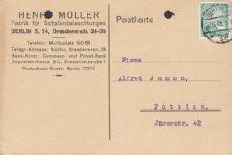 Germany Deutsches Reich HENRY MÜLLER Fabrik Schalenbeleuchtungen BERLIN 1925 Card Karte POTSDAM Rheinland Stamp - Deutschland