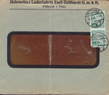 Germany Deutsches Reich JÜDEWEINER LEDERFABRIK Emil Gebhardt, PÖSSNECK Thüringen 1926 Cover Brief 2x Rheinland Stamps - Deutschland