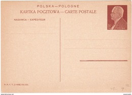 PLS23003 Poland 1938 Stationery Postcard 30GR President Ignacy Mościcki / Unused - Stamped Stationery