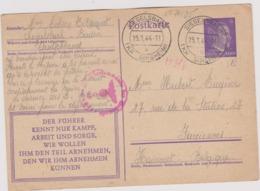 MILITARIA Entier Postal 1944 Camp De Prisonniers De SIEGELSBACH SINSHEIM Pour Farciennes Avec Censure Allemande - Alemania