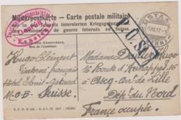 CAMP DE PRISONNIERS 1917 CACHETS OBLITERATIONS DIVERSES GSTAAD SUISSE   Pour ASCQ DEPT 59 Nord - Deutschland