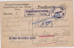 MILITARIA CAMP DE PRISONNIERS 1916 CACHETS OBLITERATIONS DIVERSES FRIEDRICHSFELD Bei WESEL   Pour ASCQ DEPT 59 Nord - Allemagne