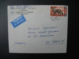 Lettre à Entête Ambassade à Nairobi Thème Animaux Fox  Kenya   Pour La Sté Générale En France Bd Haussmann Paris - Kenya (1963-...)
