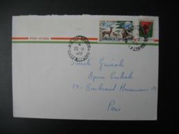 Lettre Thème Animaux  Biche Cerf Lion Faon Nature Montagne Côte D'Ivoire  Pour La Sté Générale France Bd Haussmann Paris - Ivory Coast (1960-...)