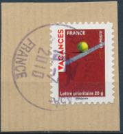 France - Vacances 2009 - Tennis YT A315 Obl. Cachet Rond Sur Fragment - Adhésifs (autocollants)