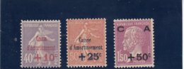 France - 1928 - N°YT 249/251** Caisse D'Amortissement - Cote 235€ - Caisse D'Amortissement