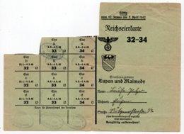 EUPEN - MALMEDY -  Reichseierkarte - Valable Du 12 Janvier Au 5 Avril 1942 - Documents