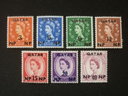 QATAR, 1960 Great Britain Stamps Surcharged Qatar And New Value Scott #19-25 MNH Cv. 14,75$ - Qatar