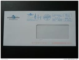 Fusée Ariane Arianespace Courcouronnes Essonne EMA Sur Lettre Slogan Meter On Cover - Briefe U. Dokumente