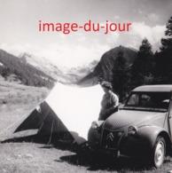 PHOTO ANCIENNE  Voiture Citroën 2CV CAMPING MEGEVE - Automobiles