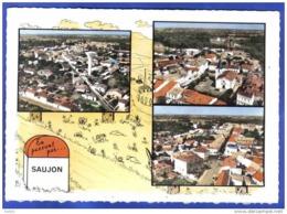 Carte Postale 17. Saujon  Vue D'avion Borne Kilomètrique Michelin   Trés Beau Plan - Saujon