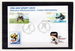 BRD, 2010, FDC Mit Michel 2788/89, Ersttagsstempel Bonn U. Berlin, Fußball-WM Und Eishockey-WM - FDC: Brieven