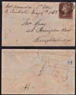 Cd0019 GREAT BRITAIN 1852 Cover London Knightsbridge - 1840-1901 (Victoria)
