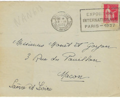 NANTES GARE FLIER 1935 DREYFUSS (NAR618) En 1994 COTE 40F EXPOSITION INTERNATIONALE PARIS 1937 DEVANT SEUL - Oblitérations Mécaniques (flammes)