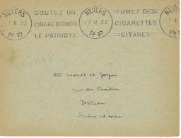 NEVERS KRAG 1932 DREYFUSS (NEU121) En 1994 NON COTE EN PORT PAYE DEVANT SEUL TABAC CIGARE - Marcophilie (Lettres)