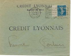 NICE FLIER 1924 DREYFUSS (NIC106) En 1994 Cote 50F PERFORE CREDIT LYONNAIS Soleil Jardins Palace Théâtre Fêtes - Oblitérations Mécaniques (flammes)