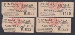 4 Cinema Ticketten, Scala 1958 Antwerpen / Verso: Uitleg Film - Tickets - Vouchers