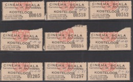 9 Cinema Ticketten, Scala 1957 /58  - Antwerpen / Verso: Uitleg Film - Tickets D'entrée