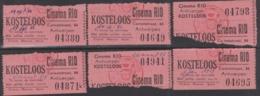 "6 Cinema Ticketten, "" RIO "" 1956 /57  - Antwerpen / Verso: Uitleg Film - Tickets D'entrée"