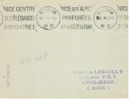 NICE Qr DE LA GARE KRAG 1928 DREYFUSS (NIC365) En 1994 NON COTE EN PORT PAYE DEVANT SEUL - Oblitérations Mécaniques (flammes)