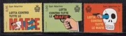 2017 San Marino Battle Against Mafia Police Guns Complete  Set Of 3 MNH  @ BELOW FACE VALUE - San Marino