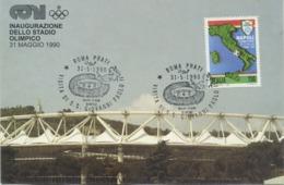 ITALIA - FDC MAXIMUM CARD 1989 - NAPOLI CAMPIONE - SPORT - CALCIO - ANNULLO SPECIALE VISITA PAPA GIOVANNI PAOLO II - Cartas Máxima