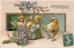 CPA Gauffrée  JOYEUSES PAQUES - Poussins , Bouquet De Fleurs Et Panier - Pasqua