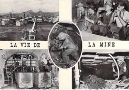 METIER Mineur - Multivues : LA VIE DE LA MINE - CPSM Dentelée Noir Blanc Grand Format - - Mines