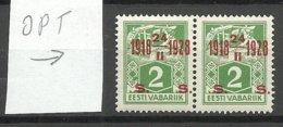Estland Estonia 1928 Michel 68 As Pair ERROR Abart Variety E: 1 Shifted OPT MNH - Estland
