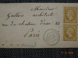 """SENNECEY : Lettre De 1866 :  GC 3375  + CàD Type 15  + Boite Rurale Q """" St Ambreuil """"   ( Identifiée ) - Marcophilie (Lettres)"""