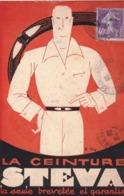 CPA  Rare Carte Publicitaire  Ceinture STEVA  Fabriquée à St Etienne (42)   Illustrateur EBL ?  1926 - Reclame