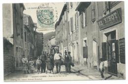 JOLIE CPA ANIMEE GRAND COMBE, BELLE ANIMATION RUE DE LA VERRERIE, CAFE DU GARD, TAILLEUR, GARD 30 - La Grand-Combe