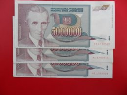 Yugoslavia-Jugoslavija 5000000 Dinara 1993, P-121a, 6pcs Interesting, Low And Numbers In A Row All For One Price - Jugoslavia