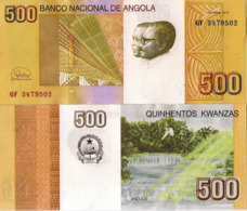 "ANGOLA, 500 Kwanzas Banknote 2017 ""2012"", Andulo Falls, P156, UNC, New Signature - Angola"