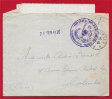 Lettre F.M. Février 1940 Régiment D'Artillerie Lourde 189 RAL & Courrier - Guerres
