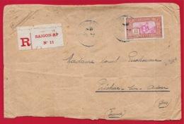 1928 Lettre Recommandée INDOCHINE De SAÏGON RP à 32 PRECHAC-sur-ADOUR Gers France - Indochina (1889-1945)