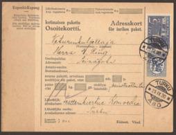 FINLAND. 1930. PARCEL CARD. TURKU TO SEINAJOKI. 2M + 5M &ARRIVAL ON REVERSE. - Finlande