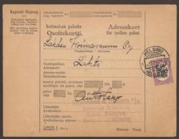FINLAND. 1929. PARCEL CARD. HELSINKI TO LAHTI. 5M. ARRIVAL ON REVERSE. - Finlande