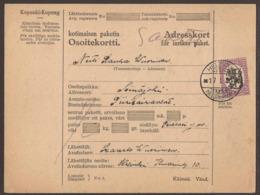FINLAND. 1930. PARCEL CARD. HELSINKI TO SEINAJOKI. 5M. ARRIVAL ON REVERSE. - Finlande