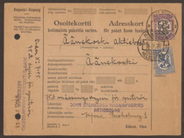 FINLAND. 1928. PARCEL CARD. HELSINKI TO AANEKOSKI. 2M + 5M. ARRIVAL ON REVERSE. - Finlande