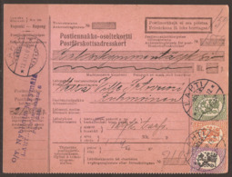 FINLAND. 1929. PARCEL CARD. LAHTI TO KUHMOINEN. 50 + 1M AND 5M. ARRIVAL ON REVERSE. - Finlande