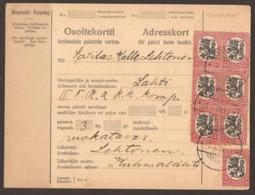 FINLAND. 1926. PARCEL CARD. ORIVESI TO LAHTI. 7x 1M. ARRIVAL ON REVERSE. - Finlande