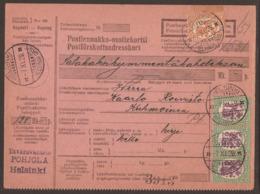 FINLAND. 1929. PARCEL CARD. HELSINKI TO KUHMOINEN. 1M + 3x 1 1/2M. ARRIVAL ON REVERSE. - Finlande