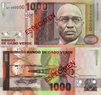 "CAPE VERDE 1000 ""SPECIMEN"" Escudos From 1989, P60s, UNC - Cabo Verde"