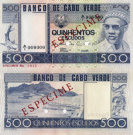 "CAPE VERDE 500 ""SPECIMEN"" ESCUDOS FROM 1977, P55s, UNC - Cabo Verde"