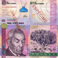 """CAPE VERDE 1000 """"SPECIMEN"""" ESCUDOS FROM 2007, P70s, UNC - Cap Vert"""