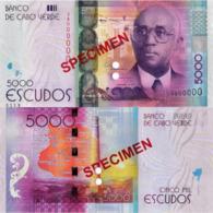 """CAPE VERDE 5000 """"SPECIMEN"""" Escudos From 2014, P75s, UNC - Cap Vert"""